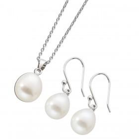 Perlenkette - Schmuckset Kette Perlencollier Ohrhänger Sterling Silber 925 Süsswasserzuchtperlen