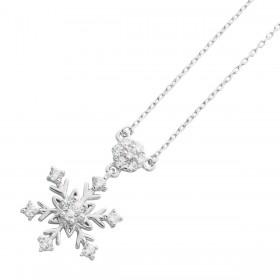 Silberkette 925 Schneeflockenanhänger 14 Zirkonia