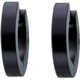 Ohrringe - Kappcreolen Edelstahl schwarz mattiert Toyo Yamamoto
