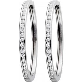 Ohrringe - Klappreolen Sterling Silber 925 Zirkonia rhodiniert Ø 40mm