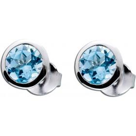 Ohrringe - Edelsteinohrstecker Blautopas Silber 925