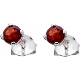 Ohrringe Silber 925  - Ohrstecker facettierter Granat