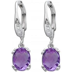 Edelsteinohrringe - Sterling Silber 925 Amethysten Diamanten 8/8 W/P