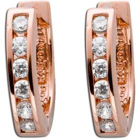 Ohrringe Klappcreolen Sterling Silber 925 Zirkonia rosévergoldet Ø 14mm