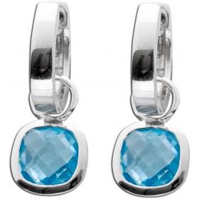 Ohrringe - Creolen Sterling Silber 925 mit Blautopas