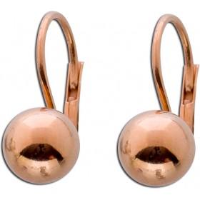 Ohrringe Ohrhänger Sterling Silber 925 Kugel rosévergoldet Ø 8mm