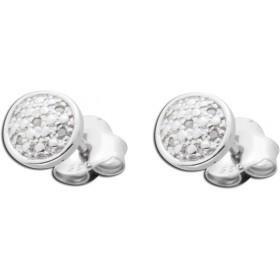 Ohrringe - Ohrstecker aus rhodiniertem Silber Sterlingsilber poliert mit 10 Diamanten