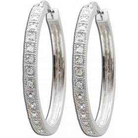 Ohrringe - Creolen aus rhodiniertem Silber Sterlingsilber poliert mit 12 Diamanten