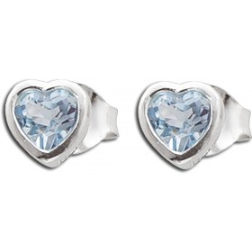 Ohrringe - Ohrstecker Sterling Silber 925 Herzform Blautopas