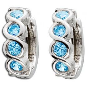Ohrringe Klappcreolen Sterling Silber 925 8 Blautopas Edelsteinen