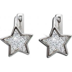 Ohrringe Scharniercreolen Stern Sterling Silber 925 Glitzerpartikel