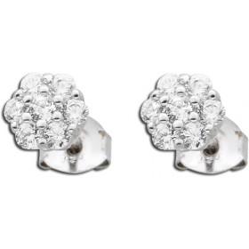 Ohrringe - polierter Ohrstecker Silber 925 14 Zirkonia