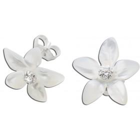 Blumenohrstecker Perlmutt Blume mit Zirkonia, Silber 925