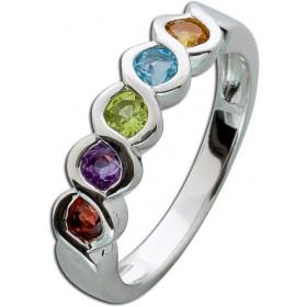 Edelsteinring Sterling Silber 925 Citrin Blautopas Peridot Amethyst Granat Memoire Ring