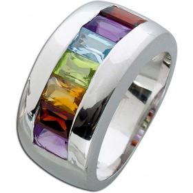 Edelsteinring Sterling Silber 925 Amethyst Granat Citrin Peridot Blautopas Memoire Ring