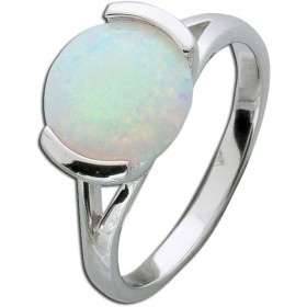 Opalring Sterling Silber 925 Ring synth. Opal hochglanzpoliert rhodiniert.