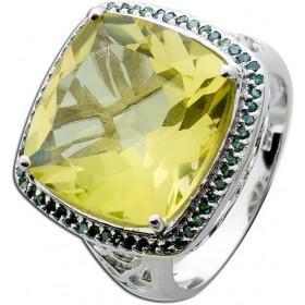 Ring Sterling Silber 925 Limonenquarz grüne Diamanten