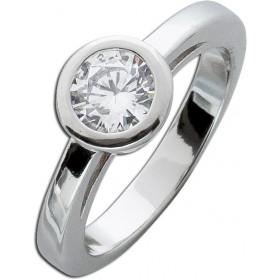 Ring Sterling Silber 925 rhodiniert poliert Zirkonia