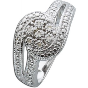Ring Sterling Silber 925 poliert 7 Diamanten 8/8