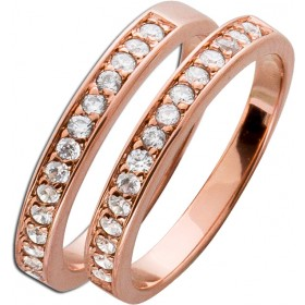 Ring Sterling Silber 925  Set 2-teilig rosé vergoldet Zirkonia Memoire Ring
