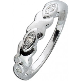 Ring Sterling Silber 925 poliert 3 Diamanten