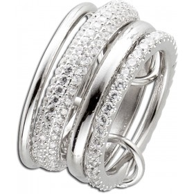 Ring Silber Sterlingsilber 925 4-teilig mit ca 80 Zirkonia