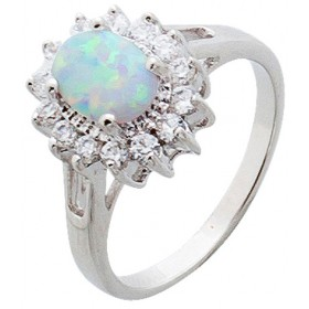 Silberring Sterling Silber 925 rhodiniert synth Opal Zirkonia