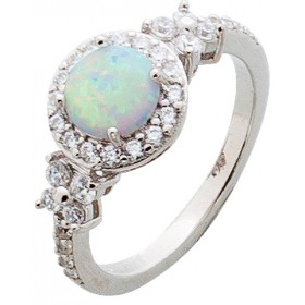 Ring Sterling Silber 925 rhodiniert synth Opal Zirkonia