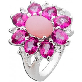 Ring Sterling Silber 925 pink Opal pink Topase weisse Topase Edelsteine