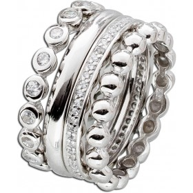 Ring Set 4-teilig Sterling Silber 925 Zirkonia Designer Ring Set