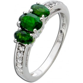 Ring Sterling Silber 925 Chromdiopside weisse Topase
