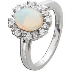 Ring Sterling Silber 925 Ethiopischem Opal 16 weiße Topase