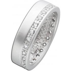 Ring Silber 925 mattiert 22 Zirkonia