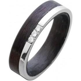 Bicolor Ring T-Y Edelstahl Carbon poliert Zirkonia