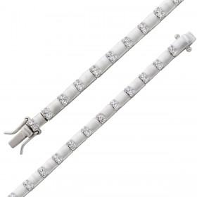 Armband - Silberarmband poliert mattiert Sterling Silber 925 Zirkonia