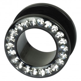 Piercing Tunnel 3 bis 20mm Durchmesser Chirurgenstahl 316L  PVD schwarz klare Swarovski Kristalle