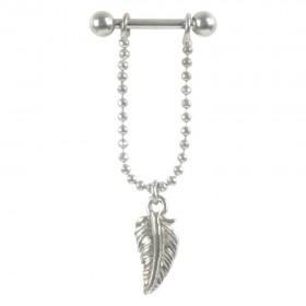 Piercing Barbell Stab 1,2x6mm Federanhänger Helix Ohr Chirurgenstahl