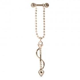 Piercing Barbell Stab 1,2x6mm Bogenanhänger Helix Ohr Chirurgenstahl PVD rose gold