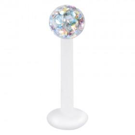 Piercing Labret hautverträglicher Kunststoff Stab 1,2mm Stärke Aurora Boreale