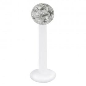 Piercing Labret hautverträglicher Kunststoff Stab 1,2mm Stärke schwarzer Diamant