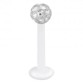 Piercing Labret hautverträglicher Kunststoff Stab 1,2mm Stärke klare Swarovski Kristalle