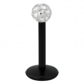 Piercing Labret hautverträglicher Kunststoff Stab schwarz 1,2mm Stärke klar