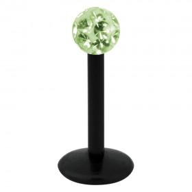 Piercing Labret hautverträglicher Kunststoff Stab schwarz 1,2mm Stärke hellgrün