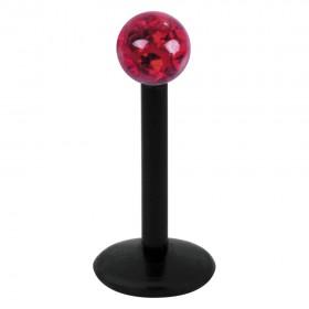 Piercing Labret hautverträglicher Kunststoff Stab schwarz 1,2mm Stärke rot