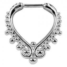 Piercing Septum Steg Chirurgenstahl 316L PVD Silber Ring aus Metall Klicker 10mm
