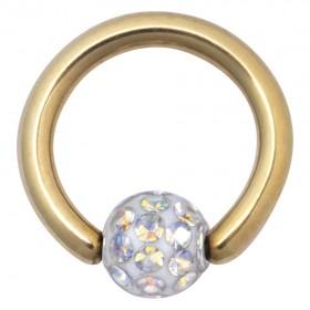 Piercing Clip in Ring Titan PVD gold 1,6mm Stärke Kugel Kristalle Aurora Boreale
