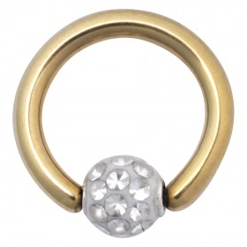 Piercing Clip in Ring Titan PVD gold 1,6mm Stärke Kugel Kristalle klar