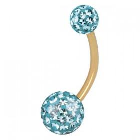 Piercing Bananabell Titan IP gold hellblaue Kristalle Stabstärke 1,6mm Kugeln 5/8mm Stablänge 12mm Bauchnabel