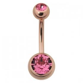 Bananabell Piercing Chirurgenstahl 316L IP rose rosa Kristalle Kugeln 5/8mm Stabstärke 1,6mm Stablänge 10mm