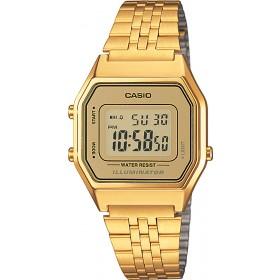 Casio Uhr LA680WEGA-9ER Quarzwerk Digital ionisiertes Edelstahl Armband